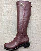 """Сапоги женские демисезонные из натуральной кожи на широком каблуке от производителя модель """"БОРДО"""""""