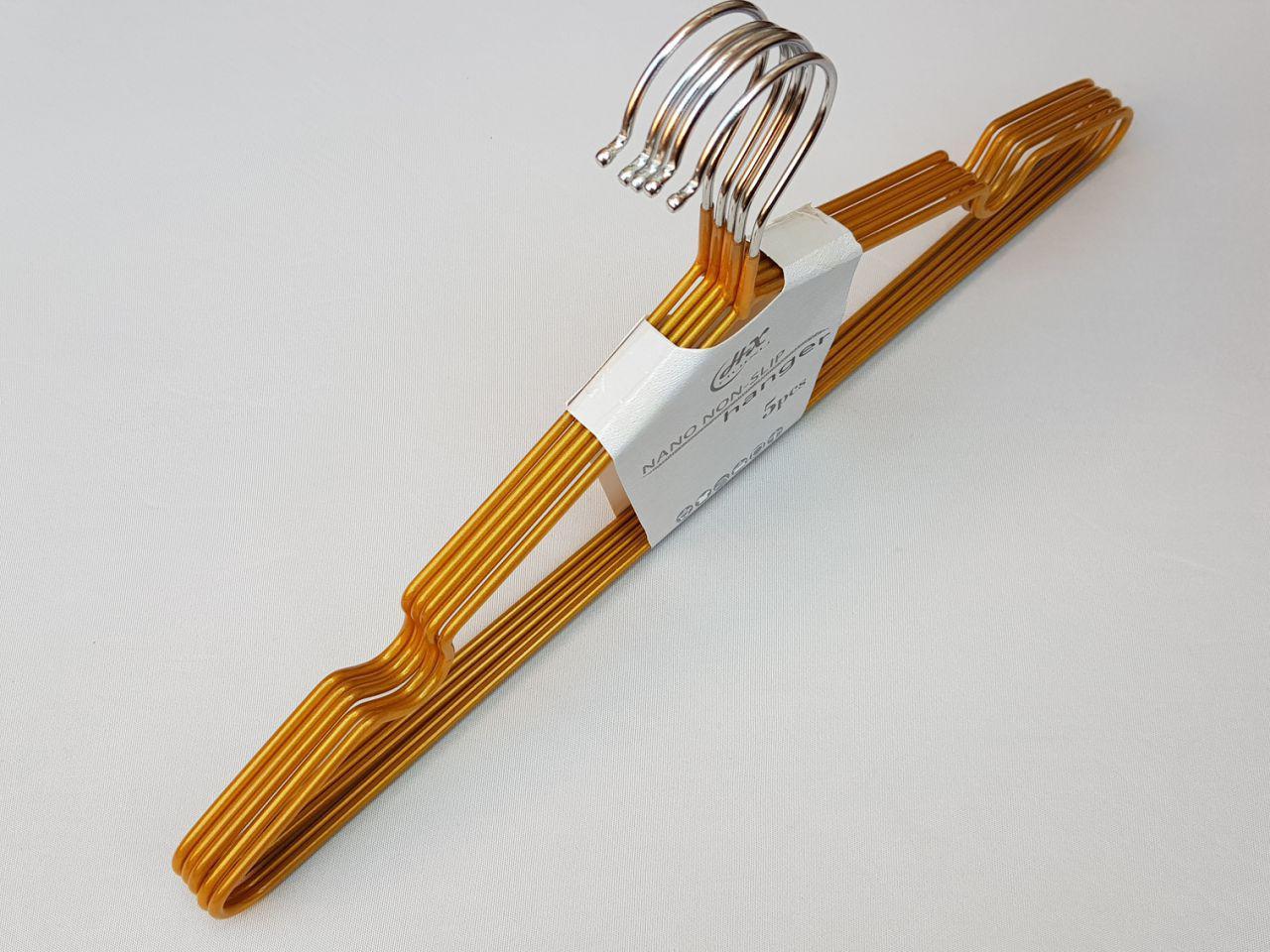 Плечики металлические в силиконовом покрытии золотого цвета, 40,5 см, 5 штук в упаковке