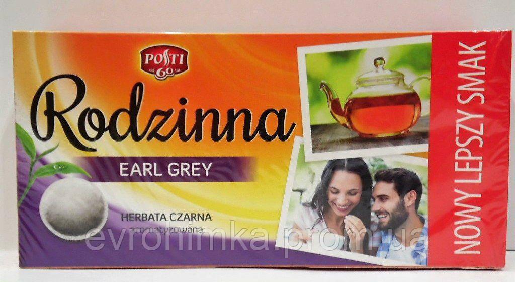 Чай черный Rodzinna earl grey 80 пакетов