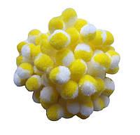 Бело-желтые помпоны плюшевые (снежки) 1.5 см 500 шт/уп, фото 1