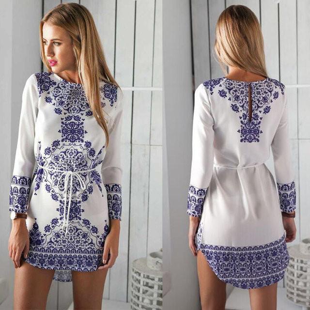 Женская пляжная туника- платье с цветочным принтом
