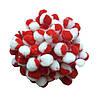 Бело-красные помпоны плюшевые (снежки) 1.5 см 500 шт/уп