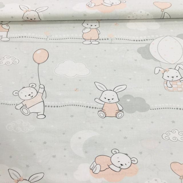 0814d9929c2 Фланель детская польская бело-пудровые и серые зайчики и мишки на  светло-сером