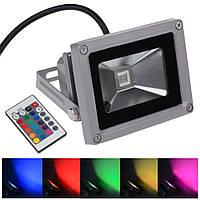 Светодиодный прожектор цветной 10Вт RGB, с пультом