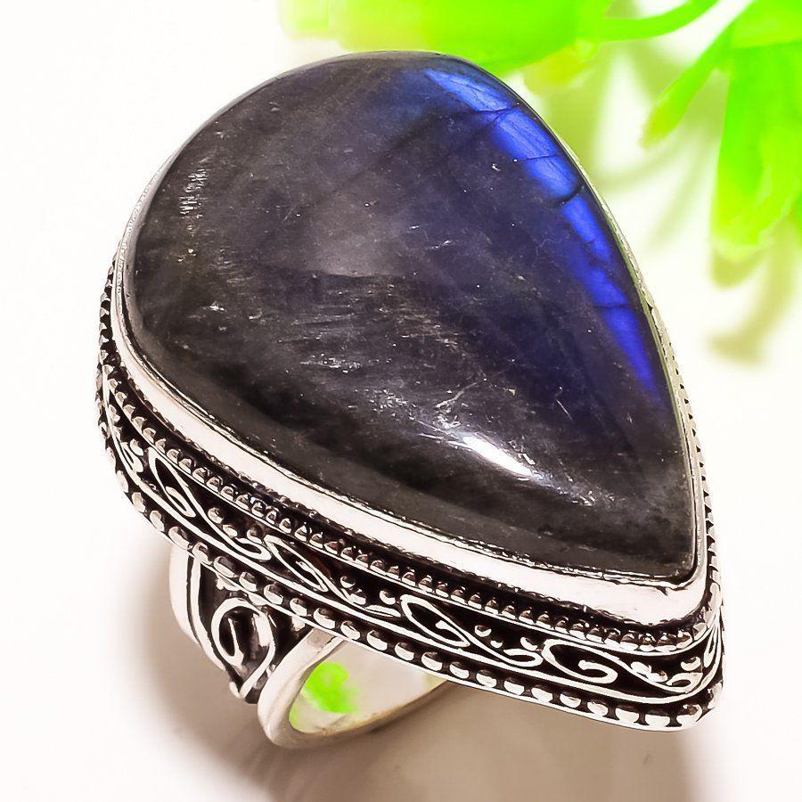 Кольцо натуральный лабрадор в серебре. Кольцо с лабрадором 18,5-19 размер Индия