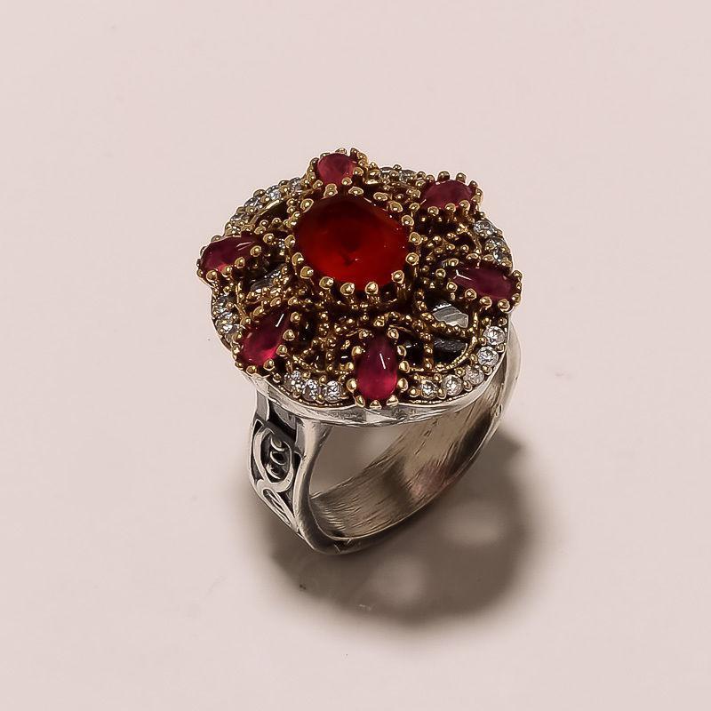 Рубин красивое кольцо в Османском стиле с рубином. Кольцо с рубином 19.3 размер. Индия!