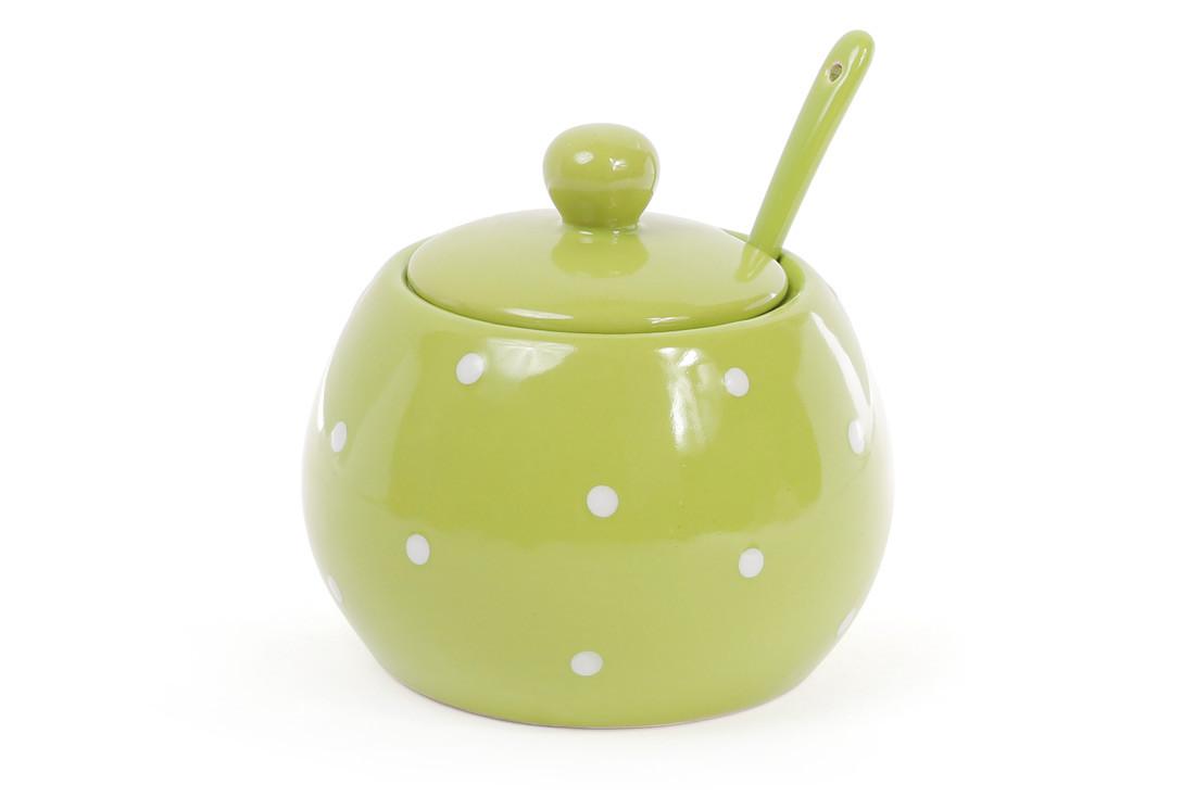 Сахарница с ложкой 350мл, цвет - зелёный в белый горошек