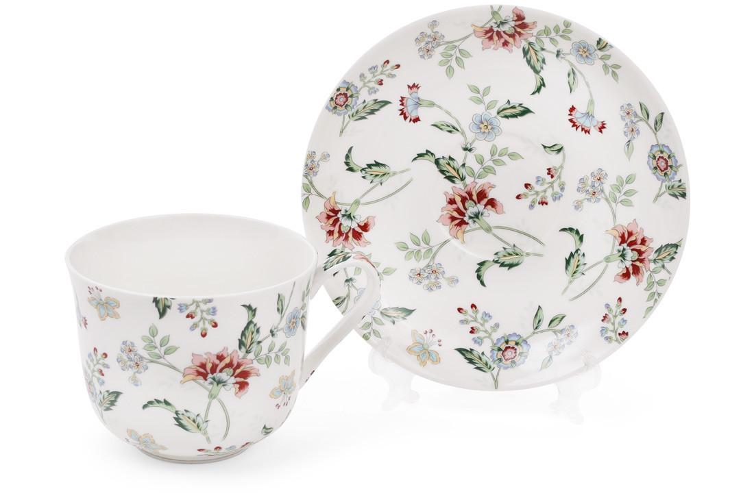 Чайная пара фарфоровая Альпийский сад, чашка 450мл