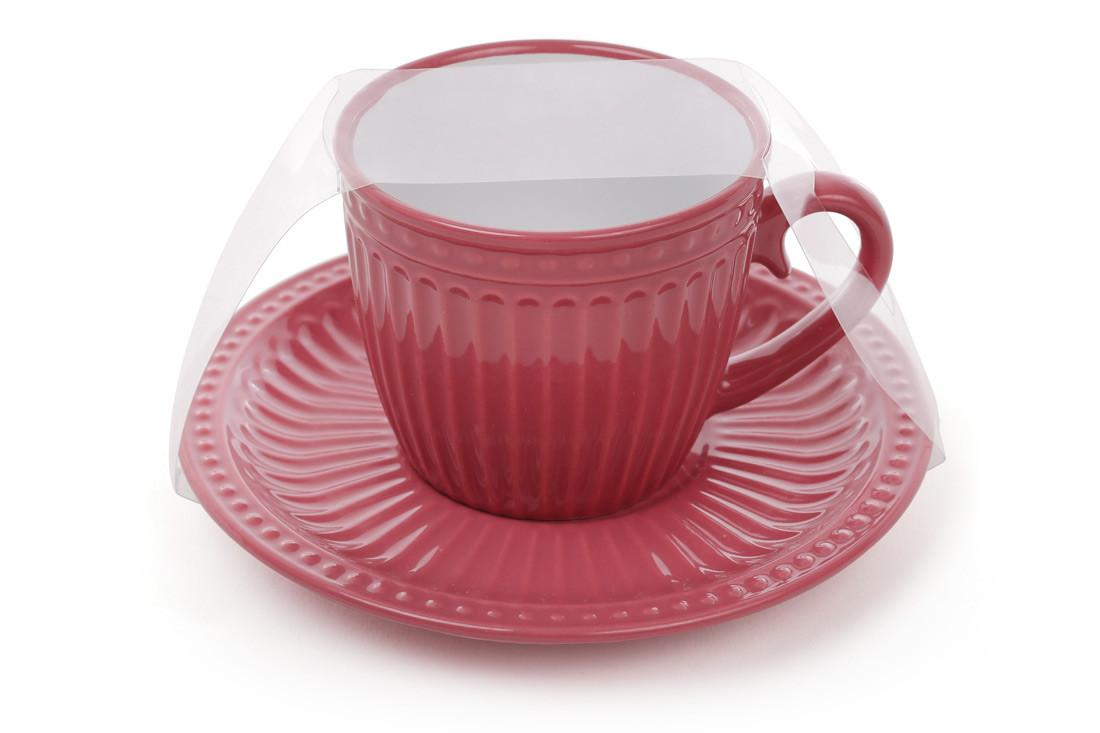 Чашка керамическая 250мл с блюдцем, 6 видов