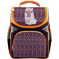 Ранец (рюкзак) - каркасный школьныйдля девочки - Волк, стильный этно,GO18-5001S-4