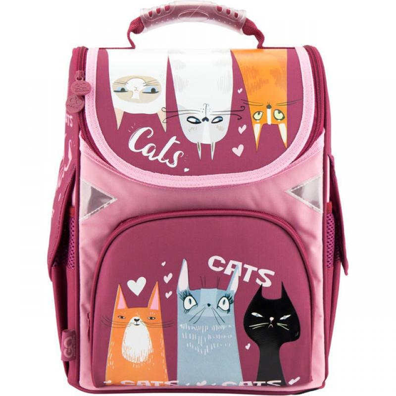 20bfc8c95aaf Ранец (рюкзак) - каркасный школьный для девочки - Кот, стильные коты, GO18