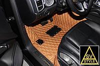 Коврики в салон Range Rover Sport Кожаные 3D (кузов №1 / 2005-2013) Рыжие, фото 1