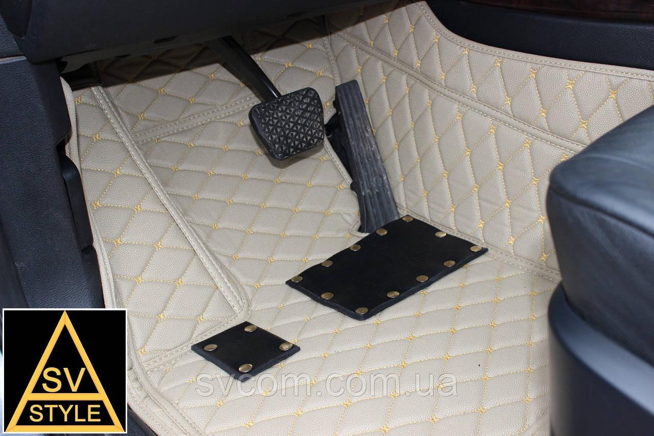 Коврики Toyota Land Cruiser 200 Кожаные 3D (2010-2017) Бежевые 5 мест