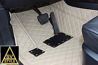 Коврики Land Cruiser 200 Кожаные 3D (кузов №6 / 2010-2017) Бежевые 7 мест, фото 1