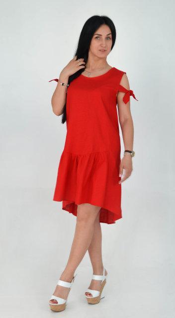 f13419d11fa Молодежное красное платье из льна - Интернет-магазин