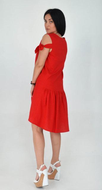 c538b94231b Молодежное красное платье из льна  продажа