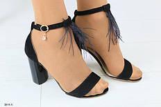 Женские замшевые босоножки на каблуке, черные, р.36-40