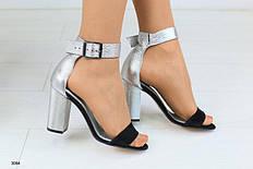 Женские кожаные босоножки на каблуке, серебро, р.36,37,40