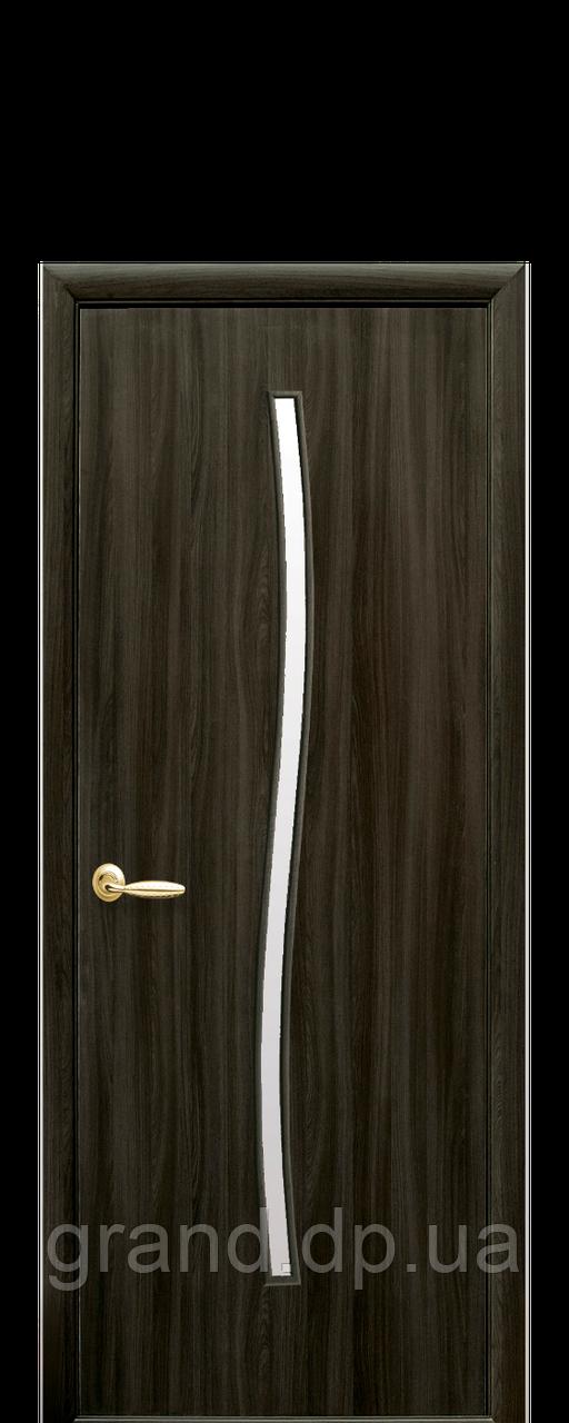Межкомнатная дверь  Гармония Экошпон со стеклом сатин, цвет кедр