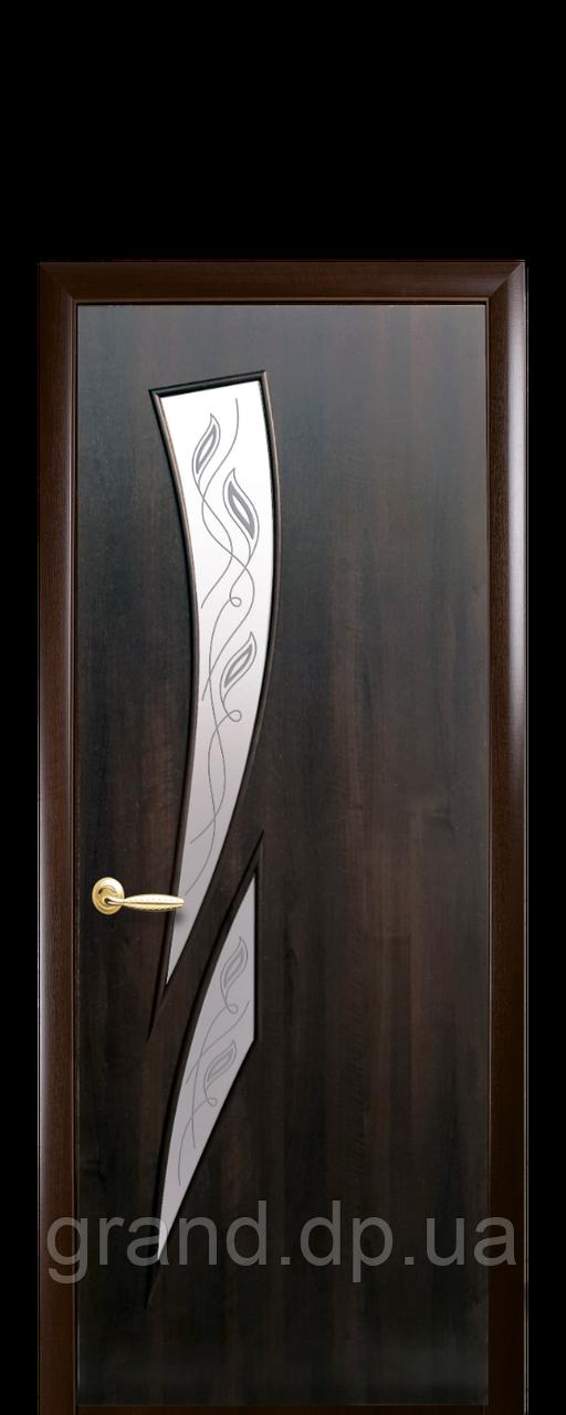 Межкомнатная дверь  Камея ПВХ DeLuxe со стеклом сатин  и рисунком P1 (матовый), цвет каштан
