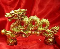 Статуэтка Дракон спираль каменная крошка жёлтый