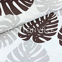 Поплин Пальмовые листья серо-коричневые