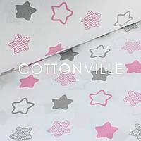 ✁ Відрізи тканини Прянички сіро-рожеві на білому