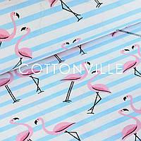 Бязь Фламинго с голубыми полосками, фото 1