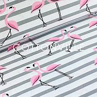 Бязь Фламинго с серыми полосками, фото 1