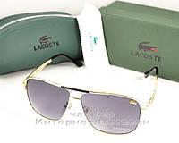 Солнцезащитные очки Lacoste  оправа металлическая под золото качество люкс ААА Лакоста реплика