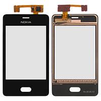 Оригинальный сенсорный экран Nokia Asha 501 черный (тачскрин, стекло в сборе), Оригінальний сенсорний екран Nokia Asha 501 чорний (тачскрін, скло в