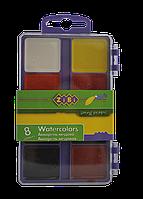 Акварельные краски 8 цветов, пластик. белый футляр zb.6519