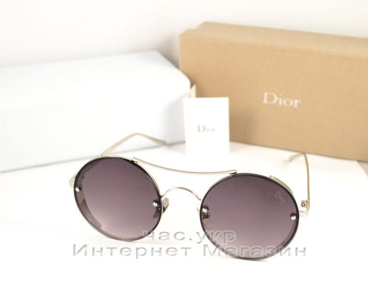Солнцезащитные очки Dior Круглые оправа металлическая под серебро эффектная модель Диор люкс реплика