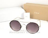 Солнцезащитные очки Dior Круглые оправа металлическая под серебро эффектная модель Диор люкс реплика, фото 1