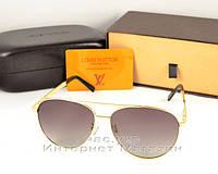 Женские солнцезащитные очки Louis Vuitton Aviator металлическая оправа под золото ультрамодные люкс реплика, фото 1