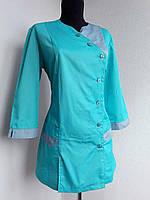 Бирюзовый медицинский костюм с брюками