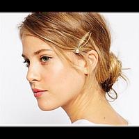 Заколка для волос стильная с жемчужиной, золотая, 1 шт