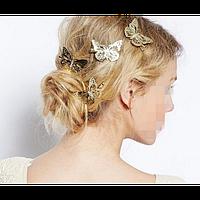 """Заколка для волос """"Бабочка"""", золотая, 1 шт"""