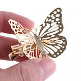 """Заколка для волос """"Бабочка"""", золотая, 1 шт, фото 4"""
