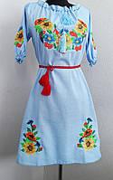 Голубое вышитое платье короткий рукав , фото 1