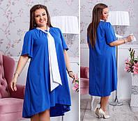 Платье больших размеров от 48 до 54   свободного асимметричного кроя  арт 233/3-126