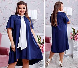 Платье больших размеров от 48 до 50   свободного асимметричного кроя  арт 234/3-126