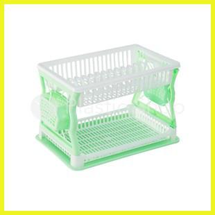 Сушка для посуды двухярусная зеленая