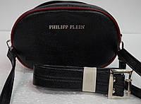 Женская сумка бананка Philipp Plein(Филип Плейн), черная с красным