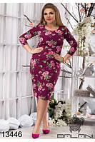 Приталенное платье больших размеров 48, 50 с цветочным принтом  арт 236/3-126