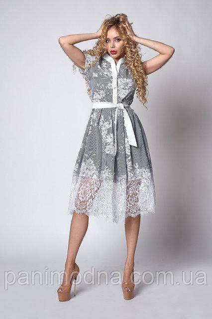 Модное Платье с кружевом, миди. Новинка 2018