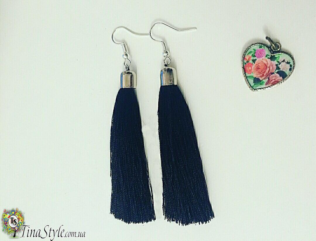 Серьги сережки Кисть кисточки синие темносиние длинные висячие вечернее синий цвет Кисти бисер кристаллы камни