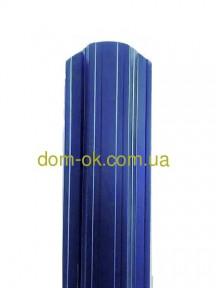 Металлический штакетник полукруглый и трапецевидный  RAL 5005 (синий) глянец/грунт 0,4 мм Китай