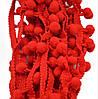 Красная тесьма с помпонами (помпоны красные на ленте плюшевые) 1 см 18 метров/уп