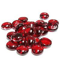 Камни для декора стеклянные круглые Красные d 2 см